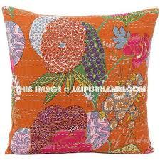 24x24 Orange Kantha Pillow Handmade Kantha Decorative throw Pillow k