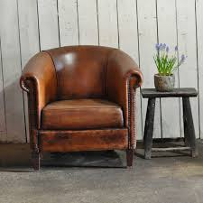 vintage worn french leather club chair with arms vintage leather club chair