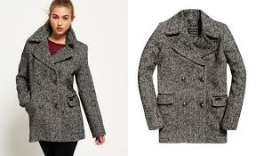superdry classic wool pea coat in mottled herringbone 144 50