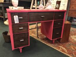 Mid Century Modern desk refinished with General Finishes Coral Crush Milk  Paint & Java Gel Stain