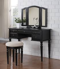 amazon 3 pc makeup vanity set table with 5 drawers stool and mirror in black finish kitchen dining