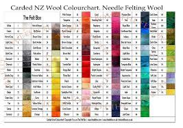 Needle Felting Wool Colourchart