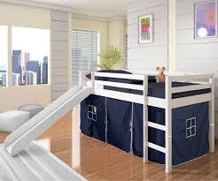 Loft Bedroom Furniture Low Loft Bed With Blue Tent Slide White Bedroom Furniture Beds