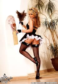Shaved Maid Kayden Kross with Nice Pussy Wearing Fishnet Stockings.