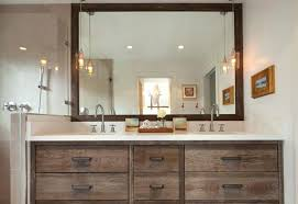 standard vanity height rustic bathroom ideas with large wooden framed mirror using and white interior color nz