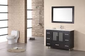 modern flush and round fluffy mat plus elegant small bathroom vanity with black cabinets and rectangular