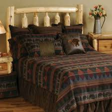 wooded river cabin bear bedspread sets