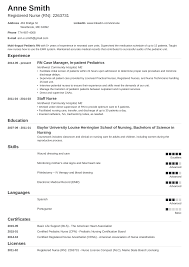 Critical Care Registered Nurse Resume Template Australia New