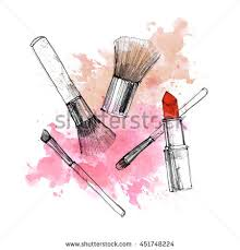 makeup brush with smear and lipstick on white background watercolor pencil drawn cosmetics fashion