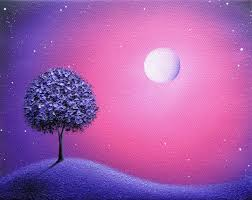 original purple tree painting oil abstract art on dramatic night sky the moon