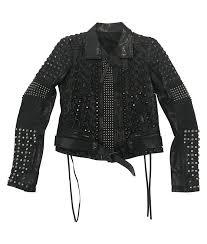 black studded jacket womens biker leather jacket