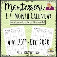 17 Month Calendar 2019 2020 17 Month Calendar With Montessori Quotes
