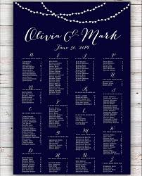 Wedding Seating Chart Rush Service String Lights Navy Wedding