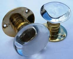 blue glass door knobs. Pair Of Clear Glass Door Knobs On A Smooth Brass Back Plate Blue