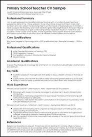 Resume Sample Of A Teacher Primary School Teacher Sample Myperfect