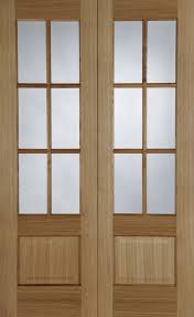 oak hampstead french door pair 6 light with clear glass