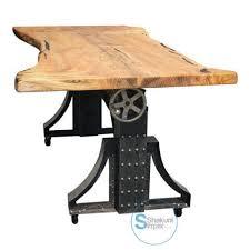 industrial furniture wheels. Live Edge Industrial Crank Mechanism Dining Table On Wheels Furniture