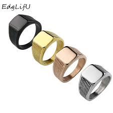 EdgLifU <b>Men's</b> Silver Ring Band <b>Simple Geometric</b> Rings Black ...