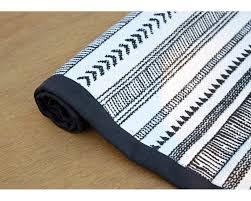aztec cotton rug black and white geometrical navajo print bohemian tribal