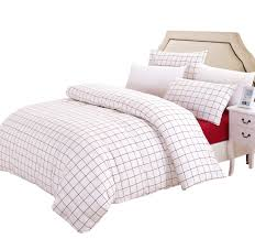susybao grid bedding set queen size white and red plaid pattern 3 piece washed cotton duvet cover set with zipper ties 1 checd duvet cover 2 pillowcases