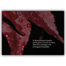 Trauerkarte Mit Rotem Laub In Diesen Schweren Stunden Besteht Unser