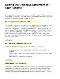 Resume Sentence Examples Writing An Objective For A Resume Wikirian Com