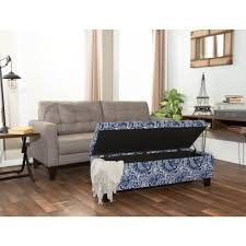 Storage Benches For Living Room Berkley Blue And White Paisley Pattern Linen Rectangular Storage