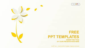 Simple Powerpoint Themes Yellow Cutout Paper Flower Powerpoint Templates