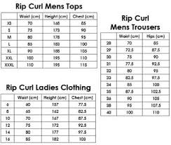 Rip Curl Board Shorts Size Chart Rip Curl Mens Ladie Size Chart Top Troussers Clothing