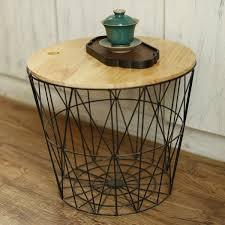 white black metal wire basket wooden top side