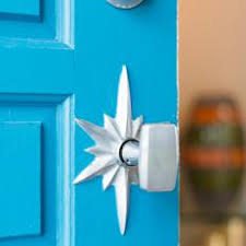 modern front door knob. Bright Blue Front Door With Midcentury-Modern Doorknob Modern Knob
