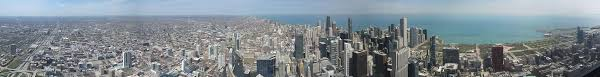 panorama of chicago skyline as seen from willis tower skydeck