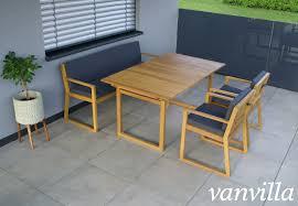 Vanvilla Gartenmöbel Set Holz 1 Tisch 1 Bank 2 Sessel Set2 Auflage