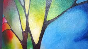 original abstract landscape tree painting two trees by sally trace