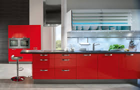 Red And White Kitchens Design Magnificent Gray Tile Floor Red And White Cabinets Sink