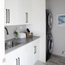 black cabinet pulls. Gray And Black Brick Laundry Room Floor Tiles Black Cabinet Pulls C