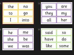 Flashcards Template For Word Phonics Tricky Words Flash Cards 2 5 Colour Coded Flash Cards