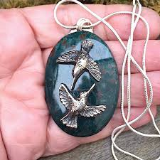 flying birds large bloodstone pendant fine silver jewelry silver necklace natural stone img 9960