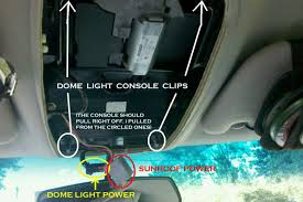 replacing installing interior dome light led ford explorer there are 2 power cords one for the lights and the other for the sunroof if you have one i suggest when you unhook these wires you be gentle