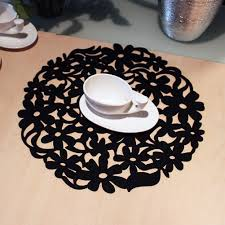 place mats tableware pads round laser cut flower design felt placemats kitchen dinner table mats 30x30cm black by woopower for kitchen in
