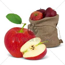 red apple slice. bag with red apples apple slice