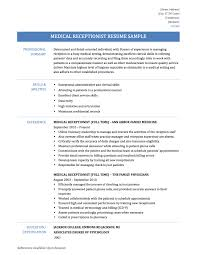 medical receptionist resume samples of receptionist resumes