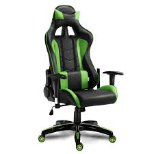 costway high back executive racing reclining gaming chair swivel pu leather office chair 0