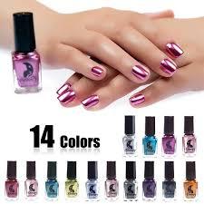 6ml 14 Colors Womens Fashion Magic Long Lasting Metallic Nail Polish Mirror Glitter Effect Chrome Varnish Manicure Nail Art Beauty Makeup