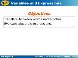 objectives translate between words and algebra