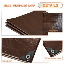 Brown Multi Purpose Tarp Poly Tarpaulin Canopy Tent Shelter