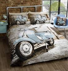 scooter duvet cover set double bed blue