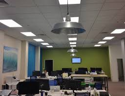 office space lighting. Their Designer, Celeste Trudeau, Used A Soothing Palette To Create Modern Yet Industrial Space. Office Space Lighting N