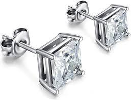 Square Earrings Square Diamond Earrings Mens ... - Amazon.com