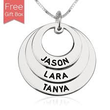 personalized family names necklace rings disc pendant